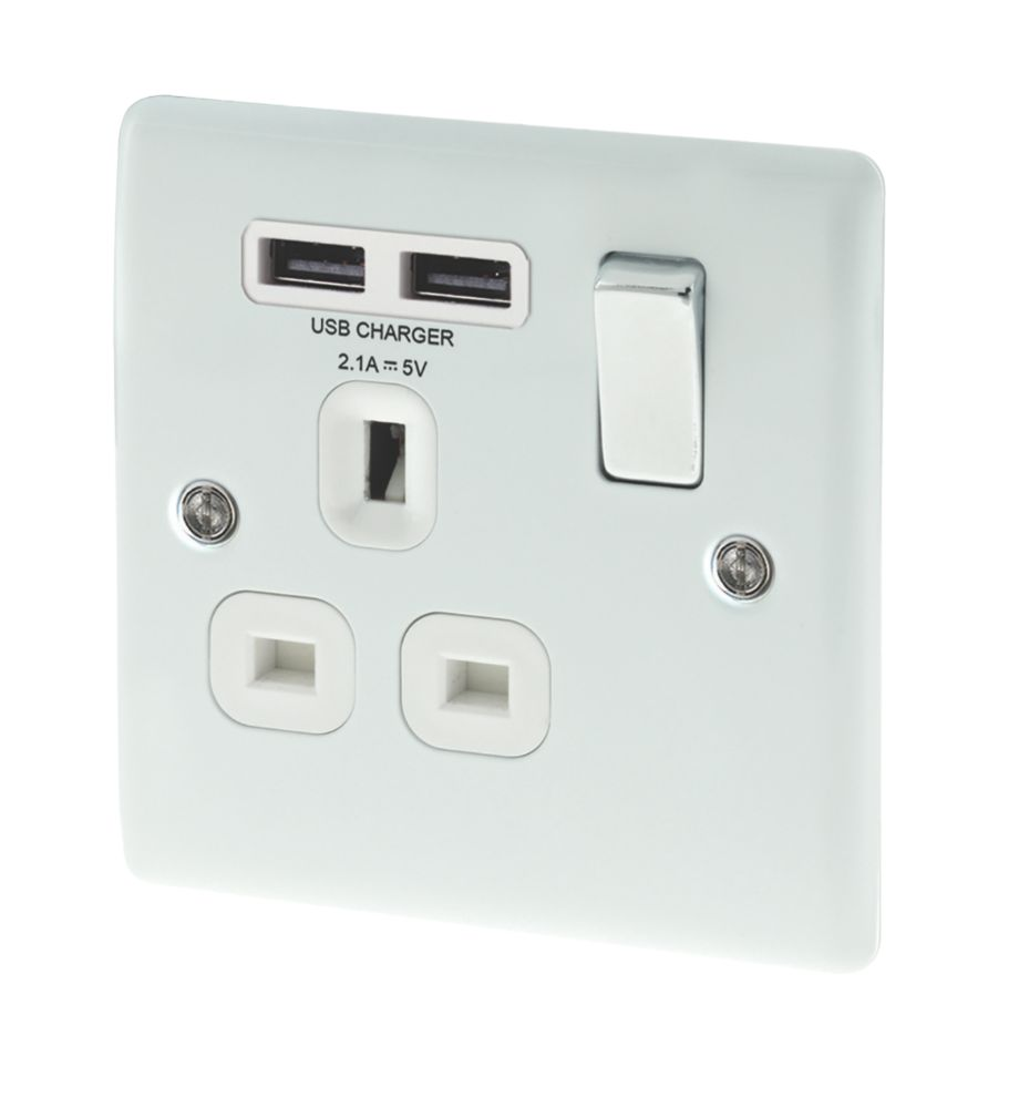 Image of BG 13A 1-Gang SP Switched Plug Socket & USB Charger Port Gloss White