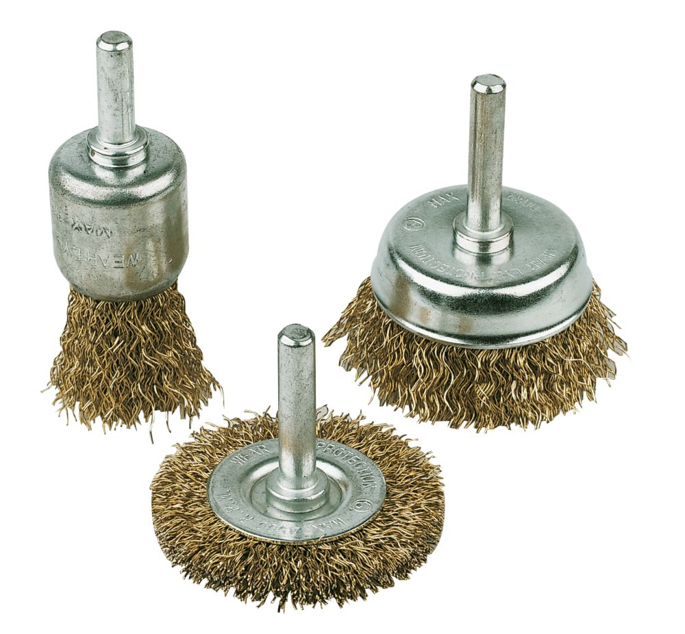 Image of Drill Carbon Steel Wire Brush Set 3Pc
