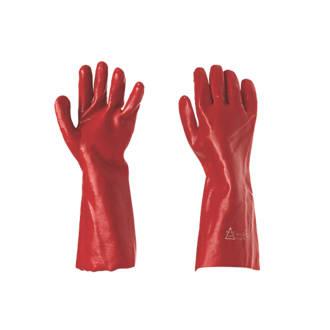 """Image of Keep Safe PVC 16"""" Gauntlets Red Large"""