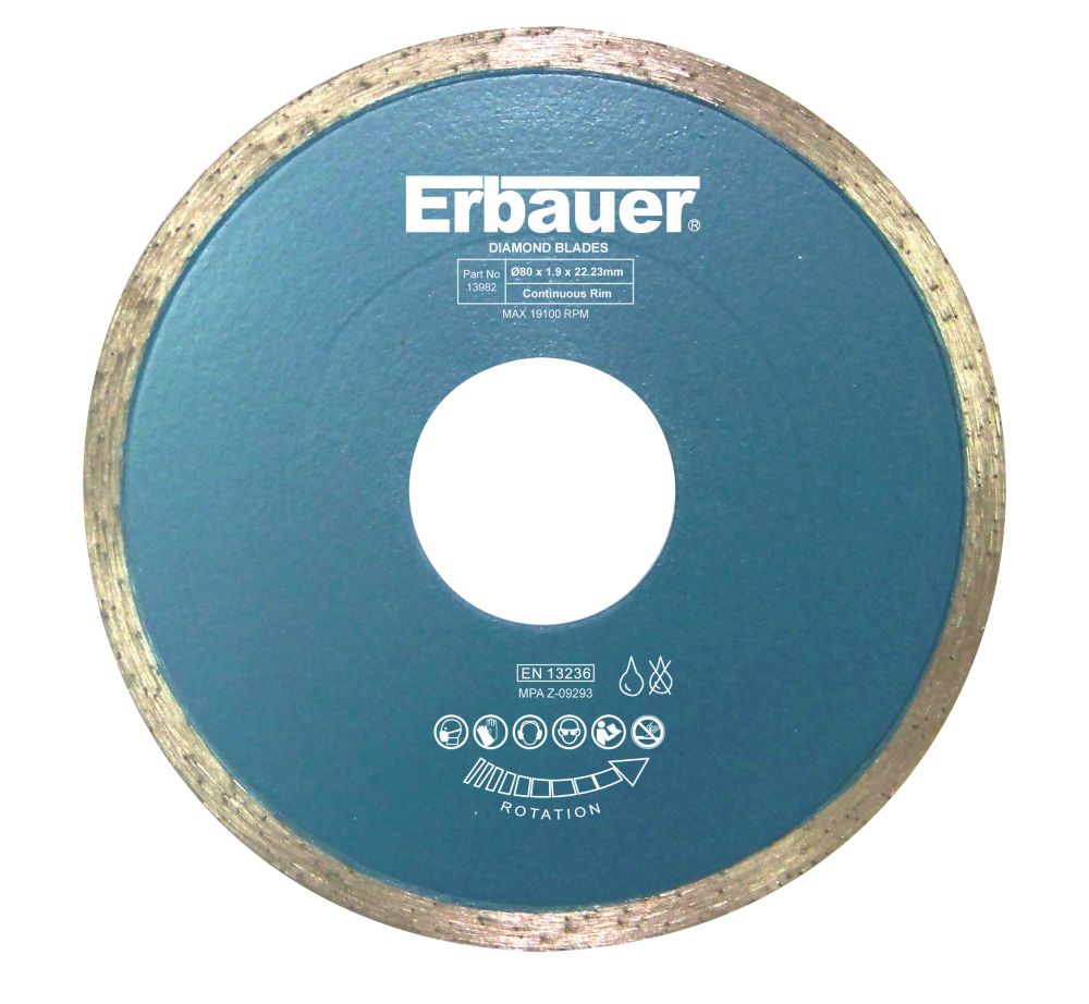 Image of Erbauer Diamond Tile Blade 80 x 1.9 x 22.23mm