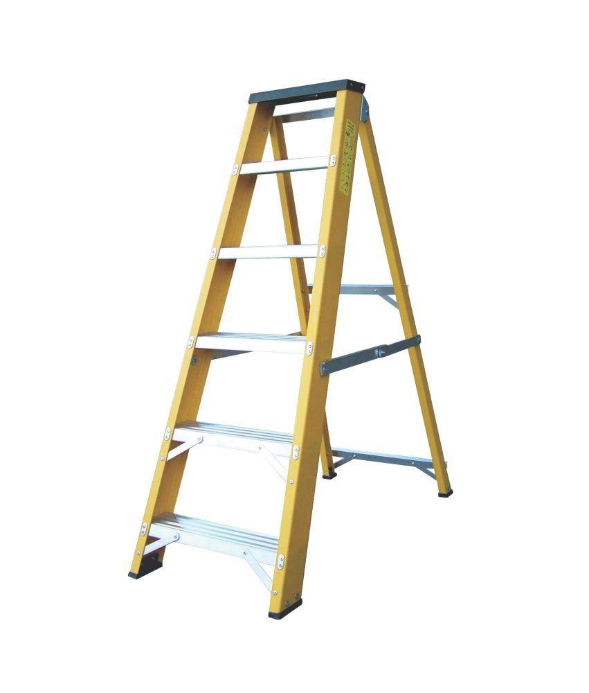 Image of Lyte GFBB6 Swingback Builders Step Ladder Fibreglass 6-Tread 1.26m