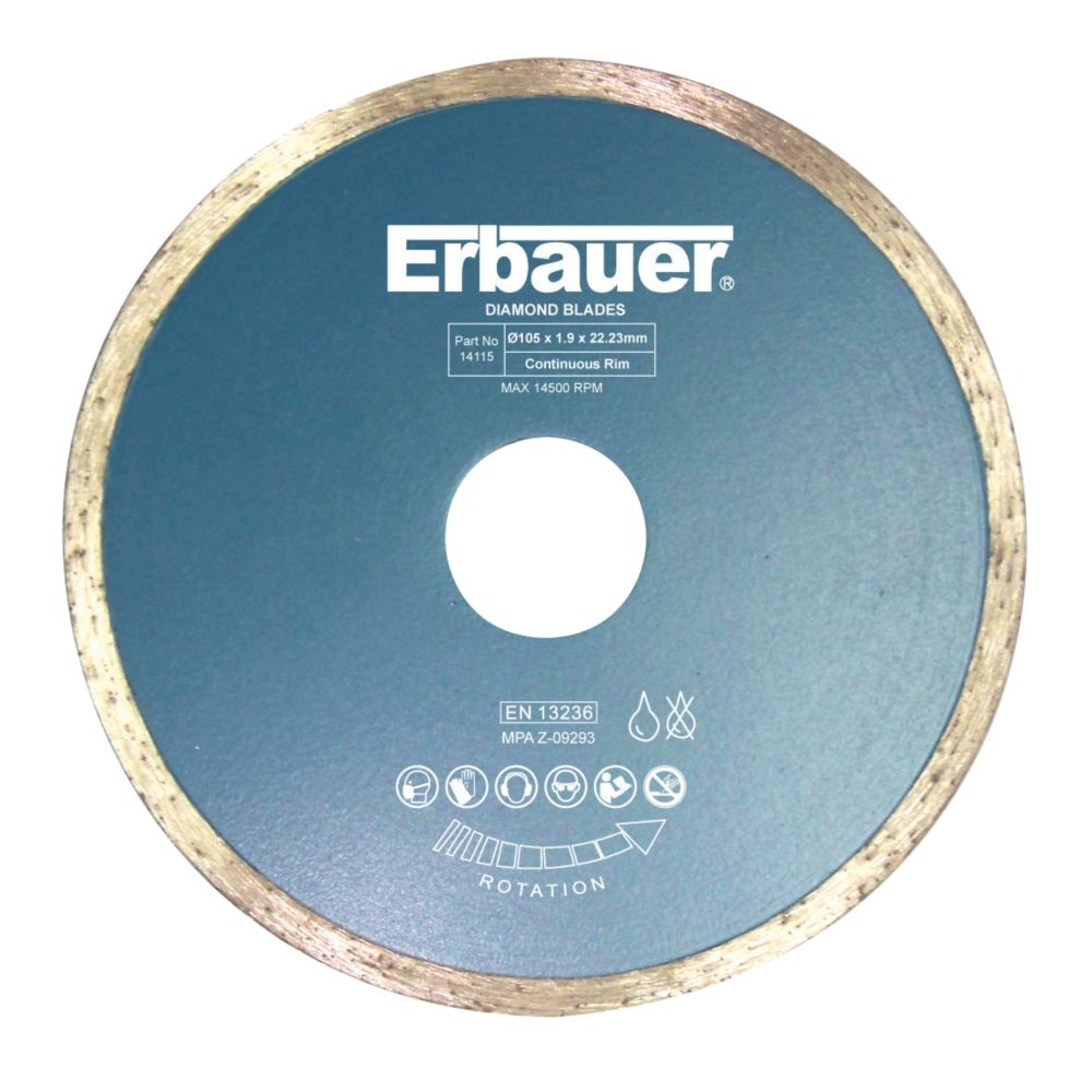 Image of Erbauer Diamond Tile Blade 105 x 1.9 x 22.23mm