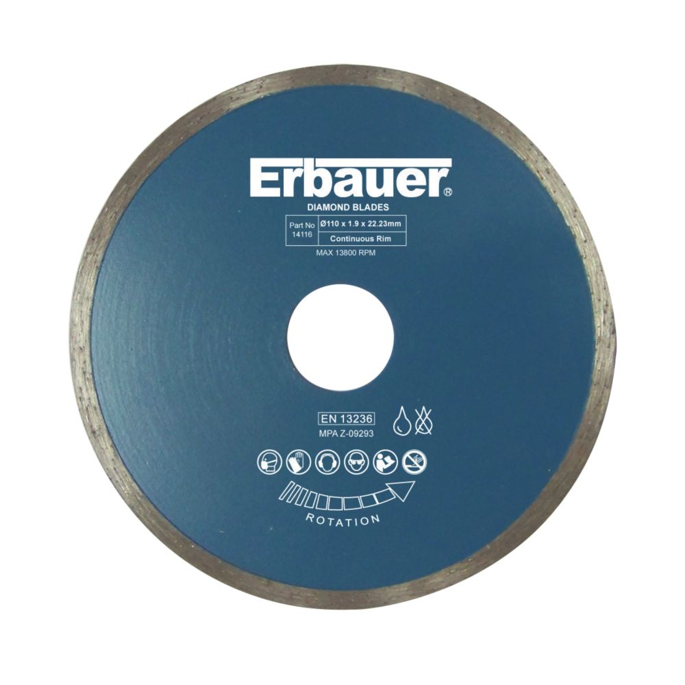 Image of Erbauer Diamond Tile Blade 110 x 22.23mm