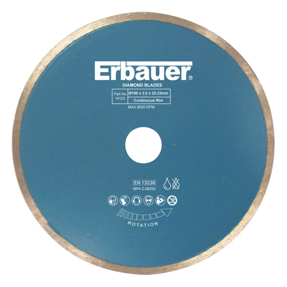 Image of Erbauer Diamond Tile Blade 180 x 2.0 x 22.23mm