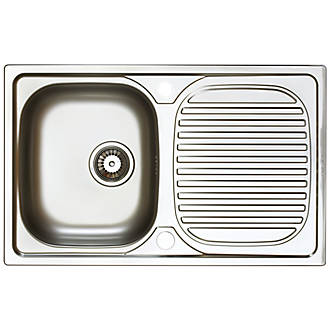 Image of Astracast Aegean Reversible Inset Sink Stainless Steel 1 Bowl 800 x 500mm