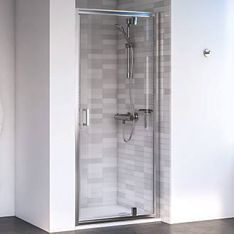 Image of Aqualux Edge 6 Pivot Shower Door Polished Silver 760 x 1900mm