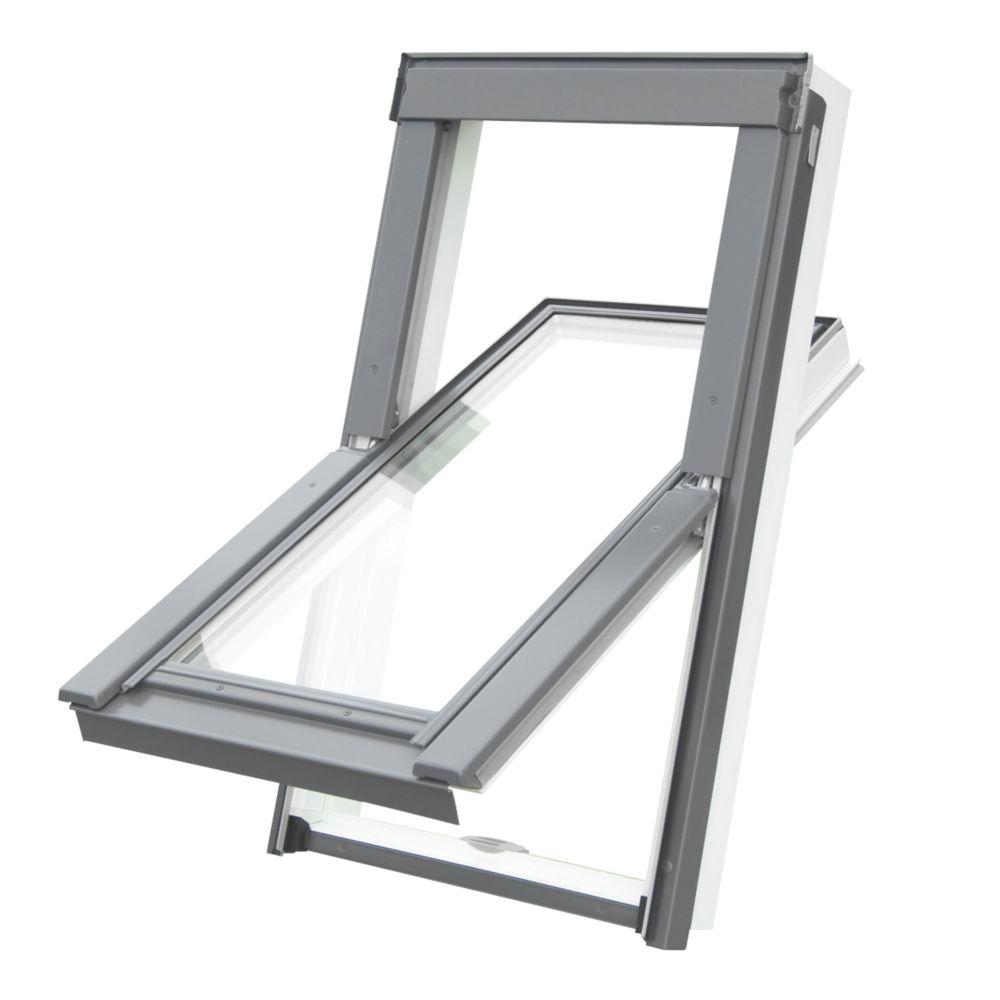 Image of Tyrem C2A Manual Centre-Pivot White uPVC uPVC Roof Window Clear 550 x 780mm