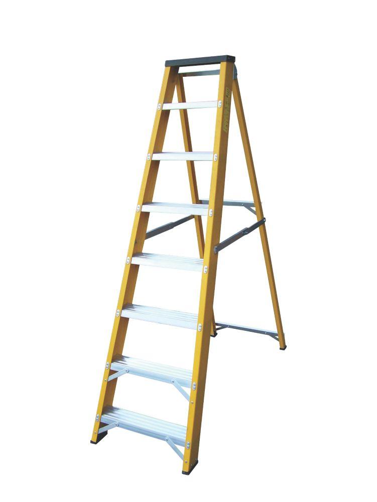 Image of Lyte GFBB8 Swingback Builders Step Ladder Fibreglass 8-Tread 1.7m