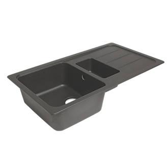 Granite Composite Kitchen Sink & Drainer Black 1.5 Bowl Reversible ...