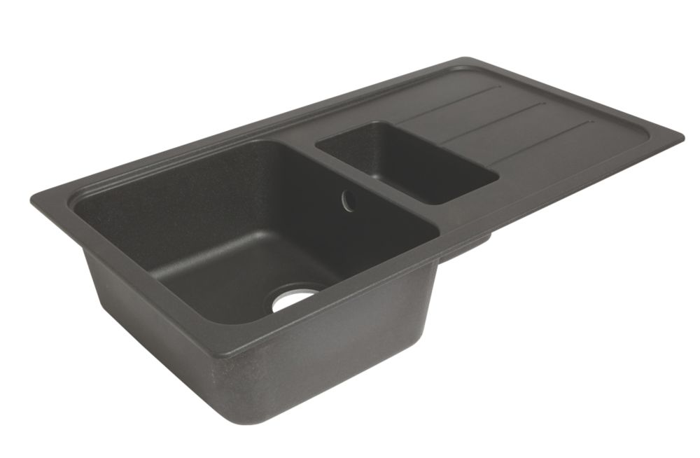 Image of Granite Composite Kitchen Sink & Drainer Black 1-Bowl Reversible 900 x 500mm