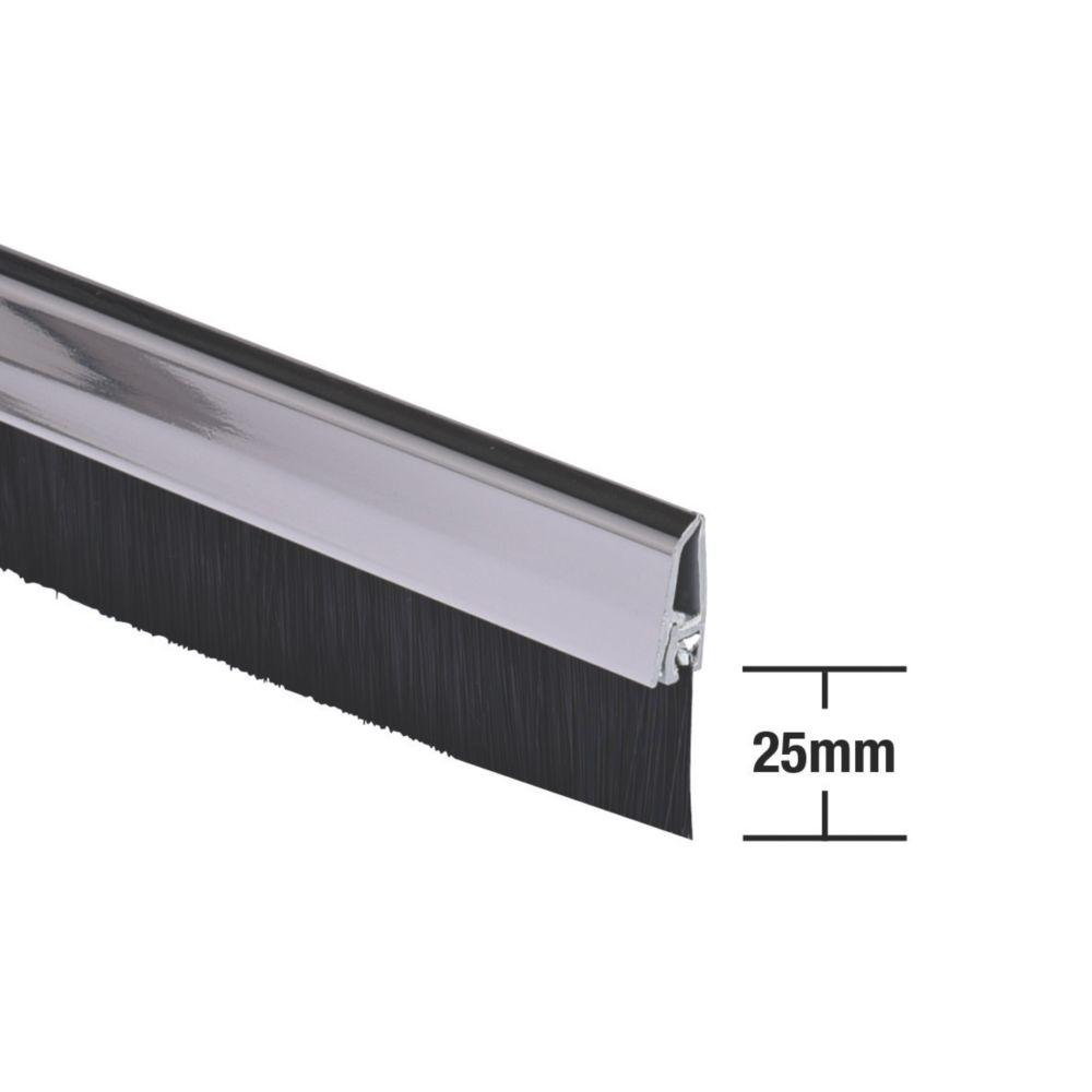 Image of Stormguard Bottom Door Brush Draught Excluder Chrome 1m
