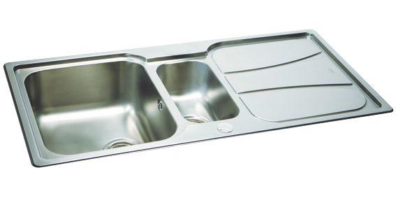 Image of Carron Phoenix Zeta Reversible Inset Sink & Drainer Stainless Steel 1.5 Bowl 1030 x 510mm