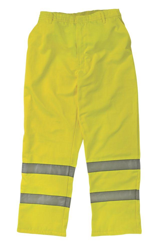 "Image of Elasticated Waist Hi-Vis Yellow Large 36-38"" W 32"" L"