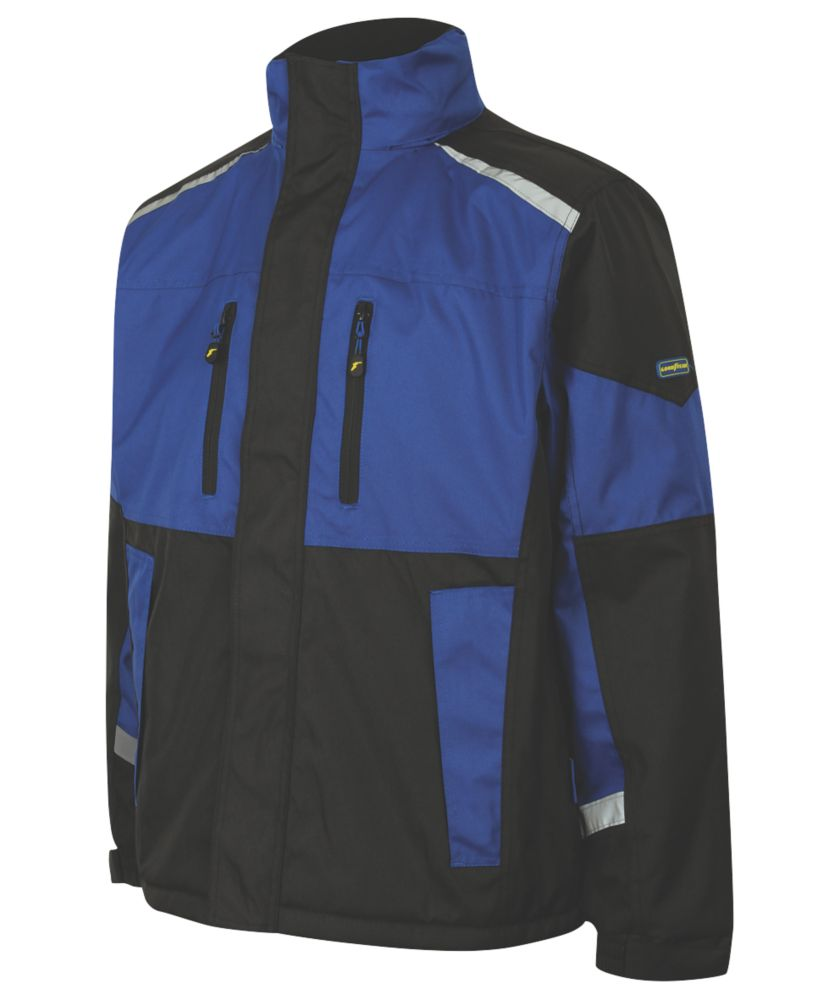 """Image of Goodyear GYJKT014 Waterproof Padded Jacket Black/Royal X Large 44"""" Chest"""