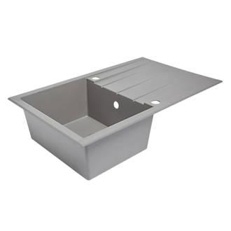 Plastic & Resin Kitchen Sink & Drainer Grey 1 Bowl Reversible 800 ...
