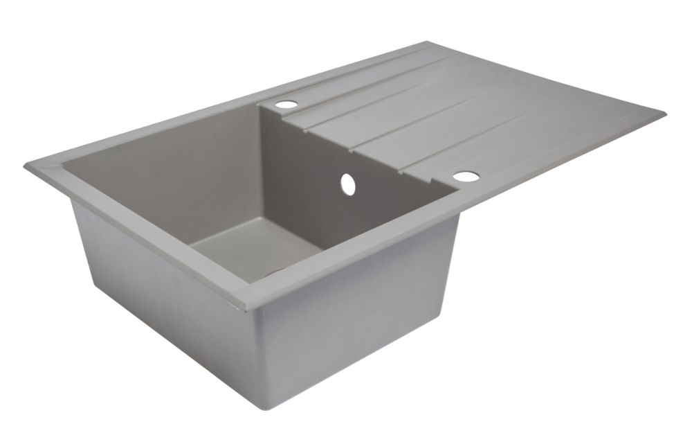 Image of Composite Kitchen Sink & Drainer Grey 1-Bowl Reversible 800 x 500mm