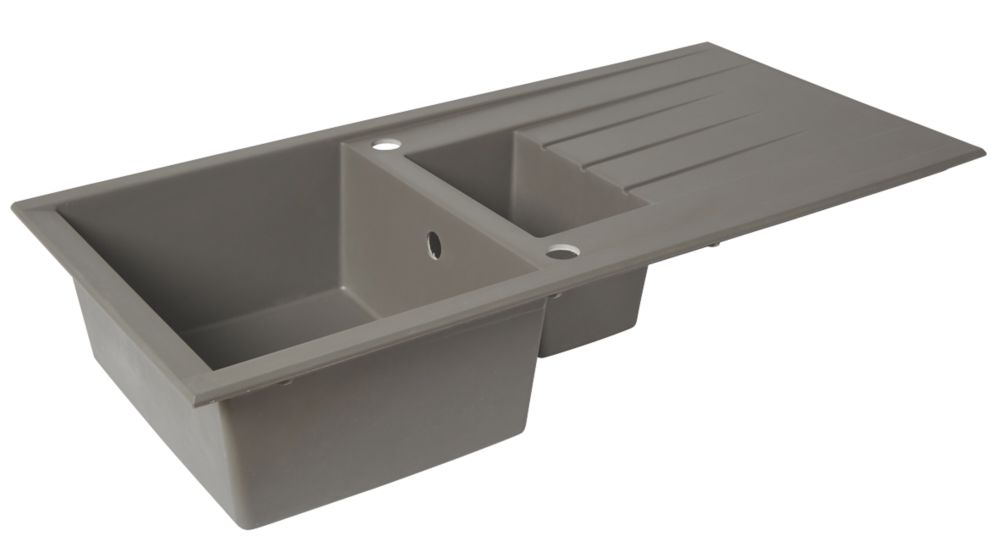 Image of Composite Kitchen Sink & Drainer Grey 1-Bowl Reversible 1000 x 500mm