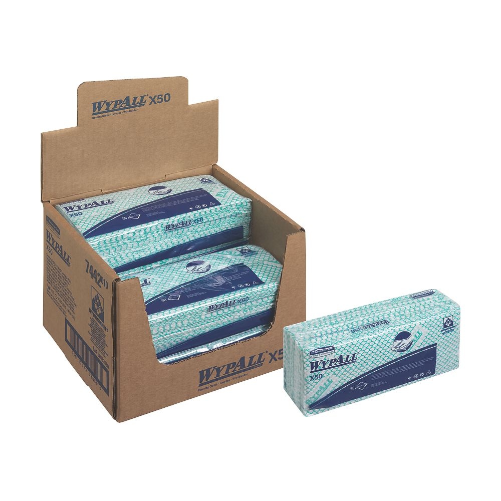 Image of Kimberly-Clark Professional Wypall X50 Cleaning Cloths Green 6 Pack