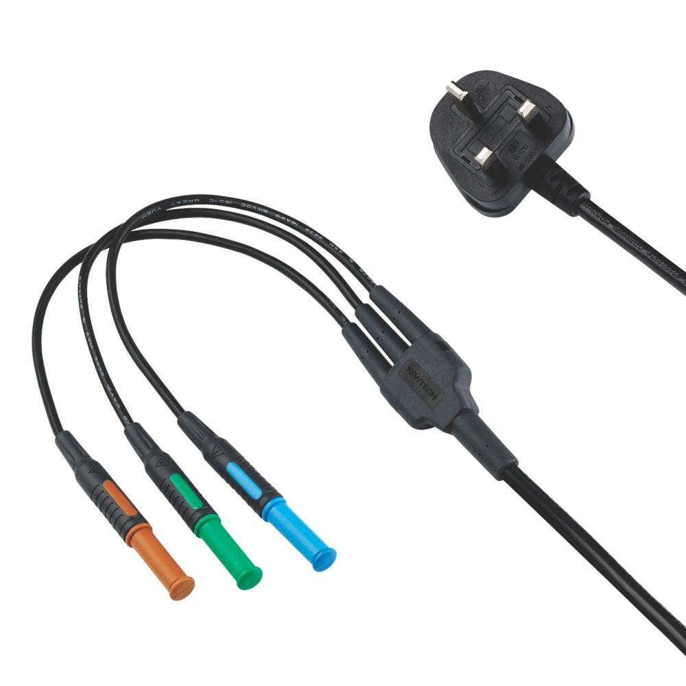 Image of Kewtech KAMP12 4mm Mains Test Lead 13A Plug Adaptor 1.19m