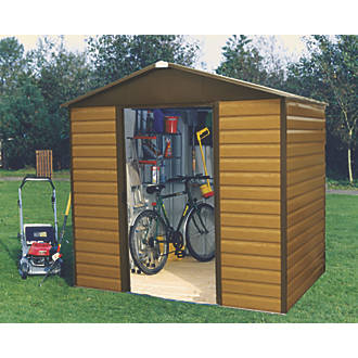 Image of Yardmaster Sliding Door Apex Shed Woodgrain Effect 8 x 6' 2 Pack