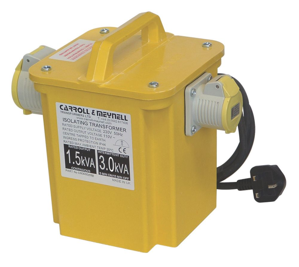 Image of Carroll & Meynell Portable Tool Transformer with 2 Output Sockets 3kVA