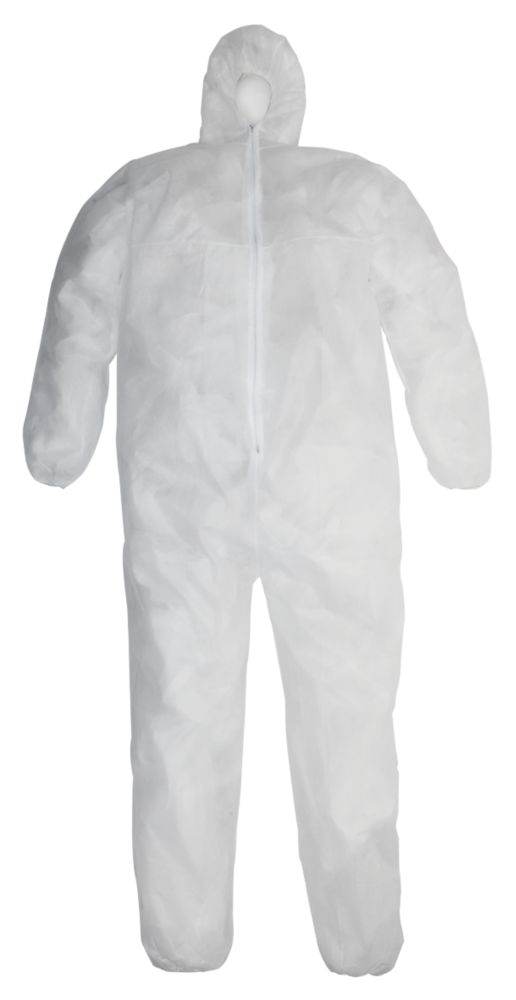 "Image of Keep Safe Disposable Coveralls White X Large 42-46"" Chest 31"" L"