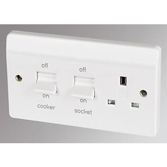2 gang cooker switch wiring diagram wikishare mk 2 gang 45a dp cooker switch with 13a switched plug socket white cheapraybanclubmaster Images