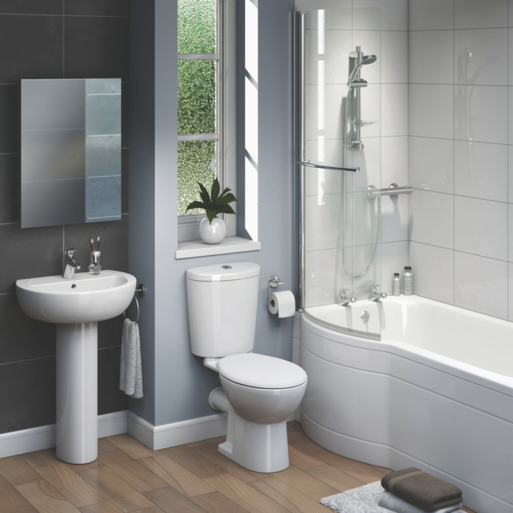 Image of Ashley Contemporary P-Shape Right Hand Bathroom Suite with Acrylic Bath