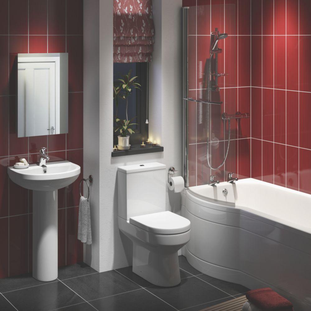 Image of Walker Contemporary P-Shape Left Hand Bathroom Suite with Acrylic Bath
