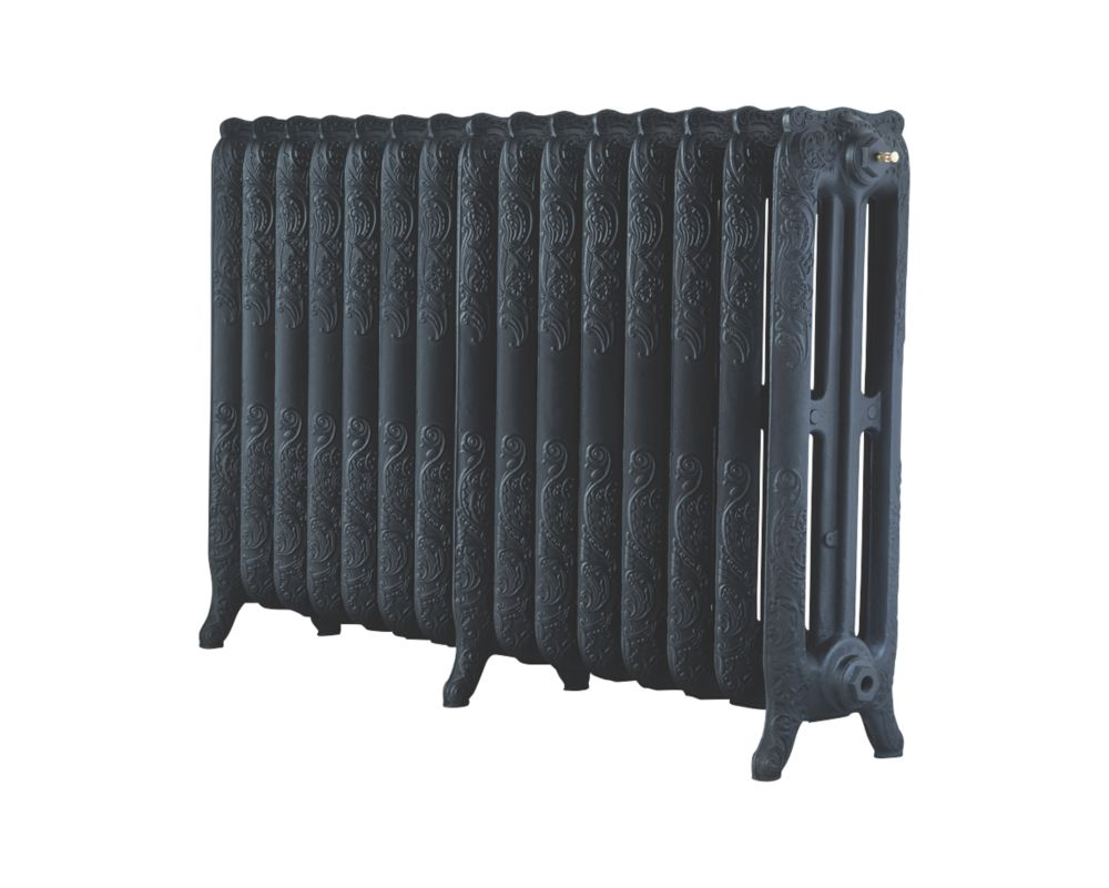 Image of Arroll 3-Column Cast Iron Radiator 760 x 1234mm Black