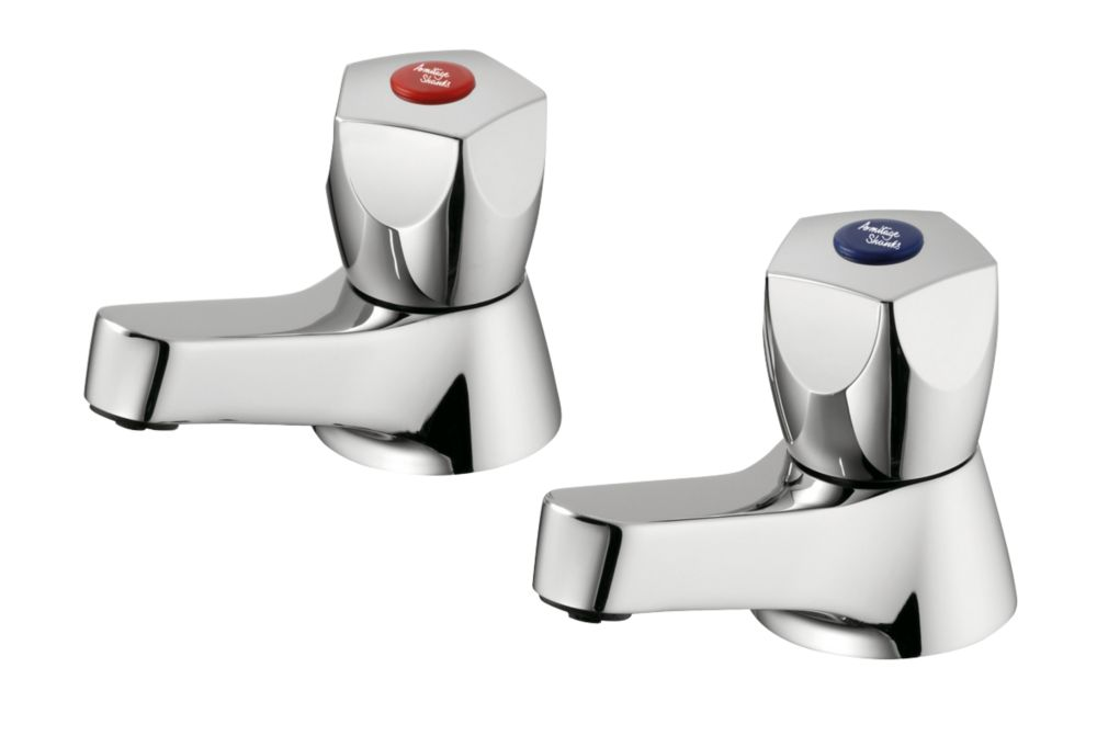 Image of Armitage Shanks Sandringham 21 Bath Pillar Bathroom Taps Pair