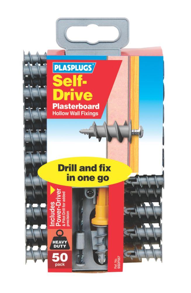 Image of Plasplugs Self-Drive Plasterboard Fixings Nylon 33mm 50 Pack