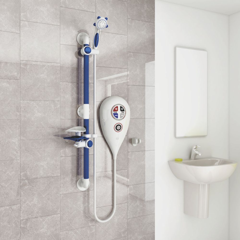 Image of AKW Luda Thermostatic Electric Shower White 10kW