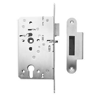 Image of Briton Stainless Steel Euro Profile Mortice Night Latch - Radius Forend 94mm Case - 60mm Backset