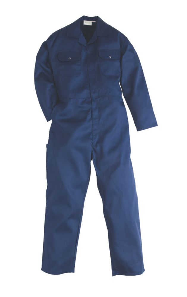 "Image of WorkSafe Traditional Polycotton Boiler Suit Blue X Large 48"" Chest 31"" L"
