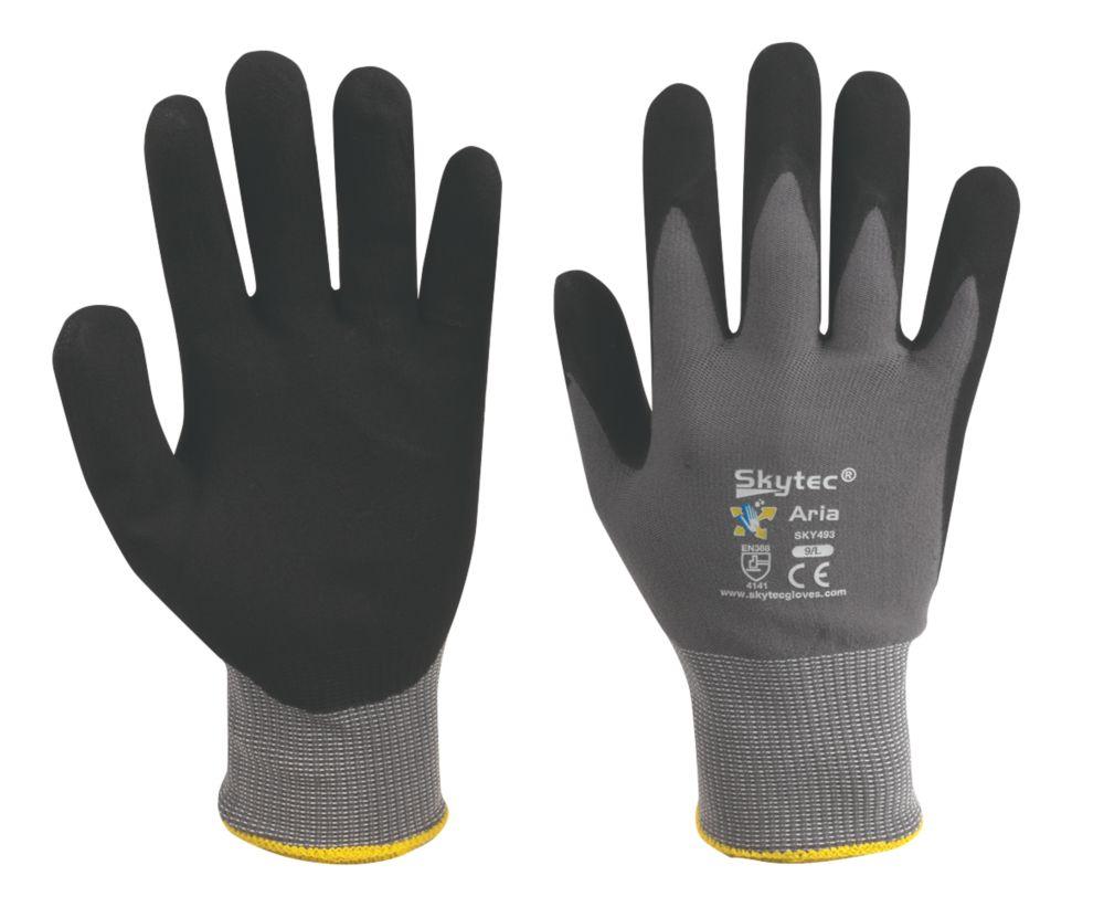 Image of Skytec Aria Aria Nitrile-Coated Gloves Grey / Black Large