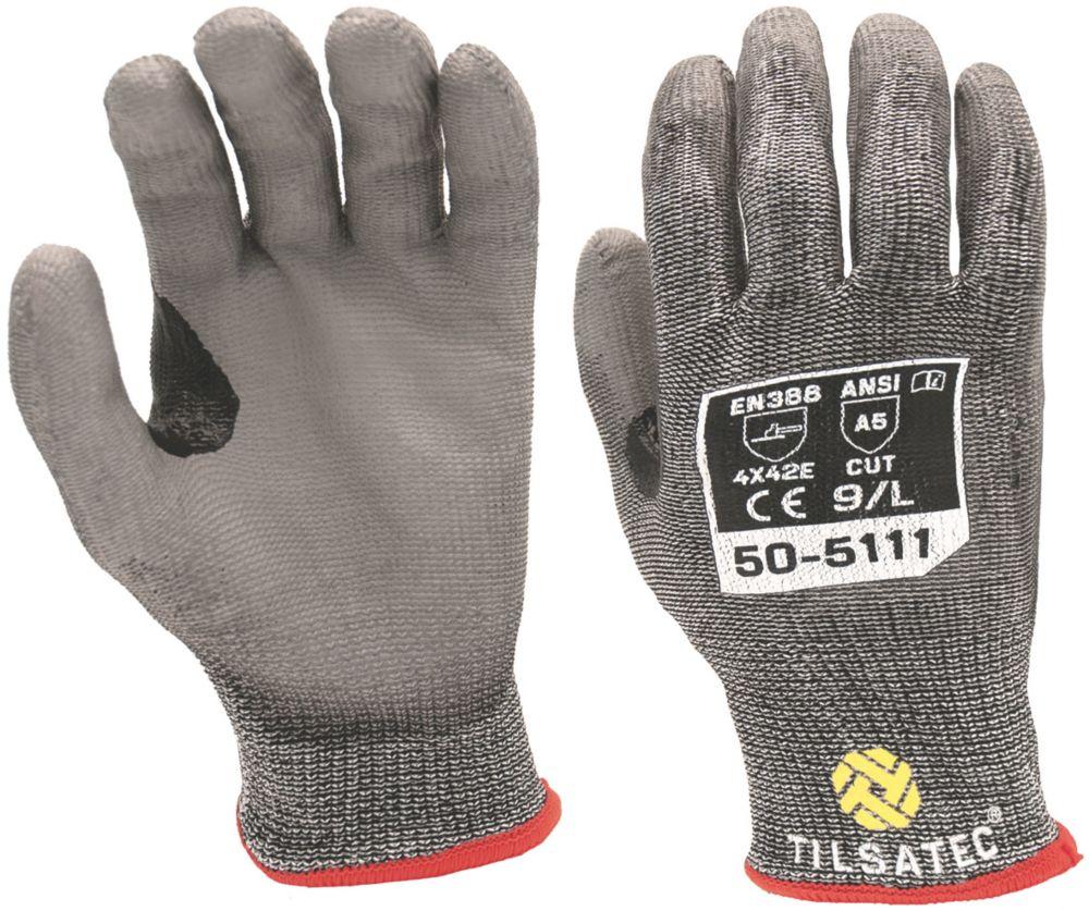 Image of Tilsatec 010PU Cut 5 PU Gloves Grey / Black Large