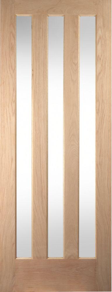 Image of Jeld-Wen Aston 3-Panel Clear-Glazed Interior Door Oak Veneer 1981 x 686mm