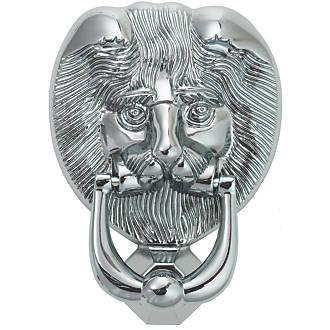 Image of Fab & Fix Lions Head Door Knocker Polished Chrome 98 x 136mm