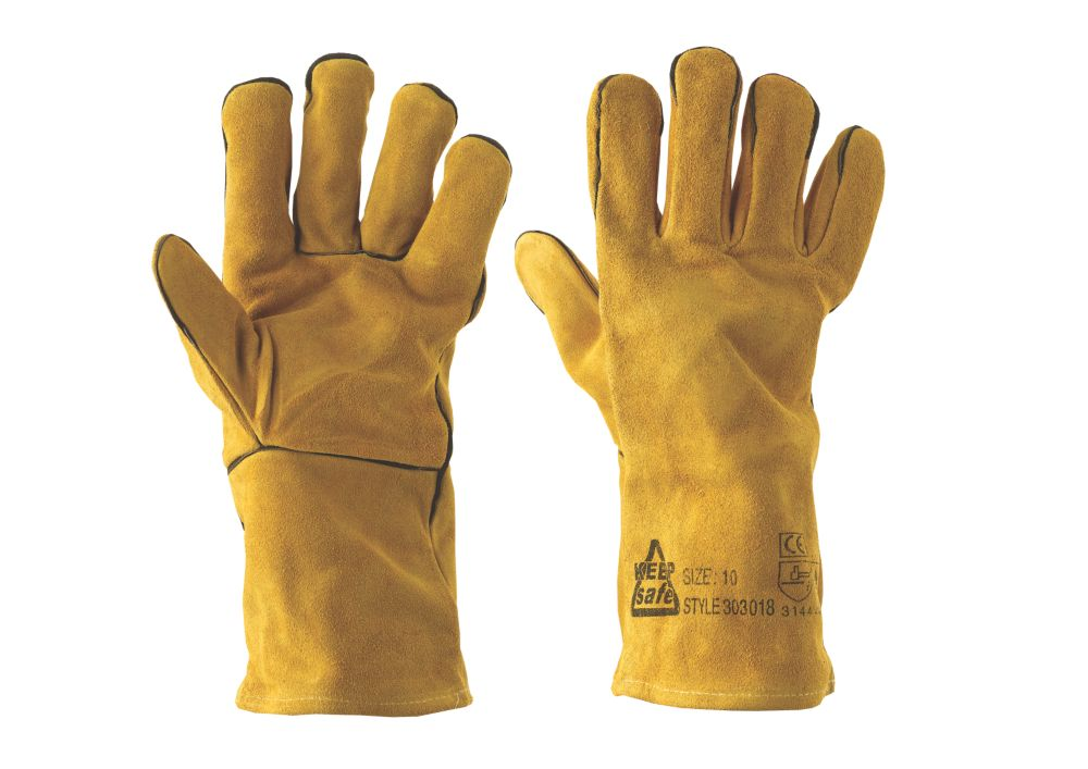 Image of Keep Safe Professional Welders Gauntlets Yellow Large