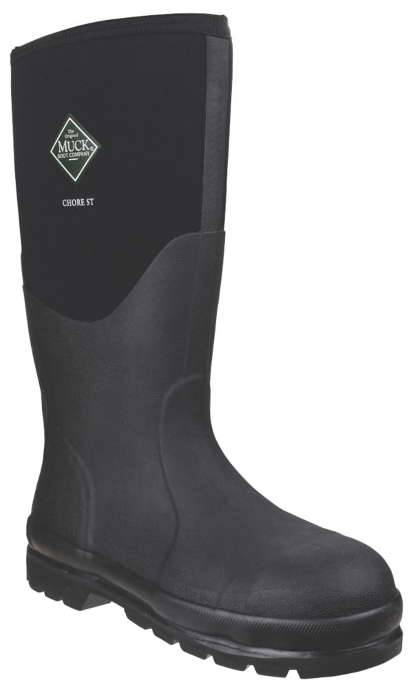 Image of Muck Boots Chore Classic Steel Safety Wellington Boots Black Size 8