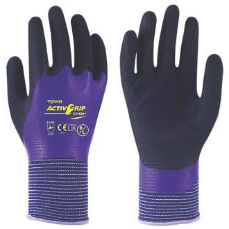 Image of Towa ActivGrip CJ-569 Nitrile-Coated Gloves Black / Blue Medium