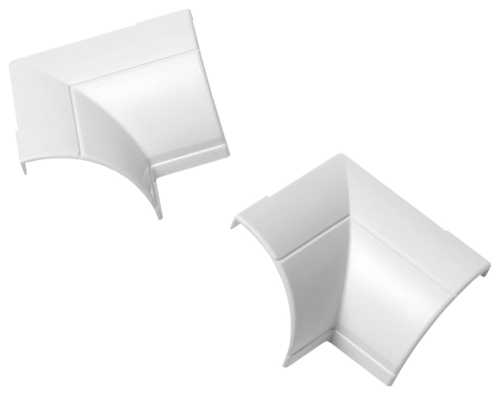 Image of D-Line Clip-Over -Round Decorative Trunking Internal Bend 22 x 22mm White Pack of 2