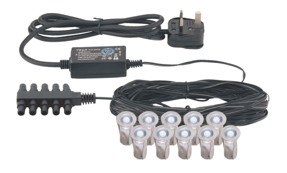 Image of Apollo LED Deck Light Kit Polished Stainless Steel 15mm 10 Pack