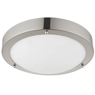 Image of Saxby Portico LED Bathroom Ceiling Light Satin Nickel 650lm 9W