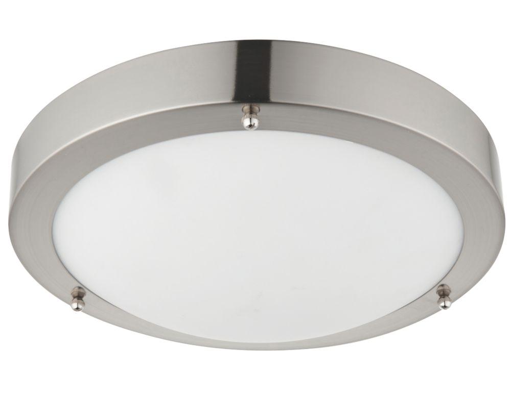 Bathroom Lights Screwfix saxby portico led bathroom ceiling light satin nickel 9w