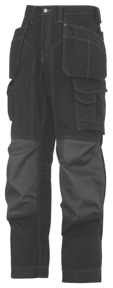 """Image of Snickers 3223 Floorlayer Floorlayer Trousers Grey / Black 30"""" W 32"""" L"""