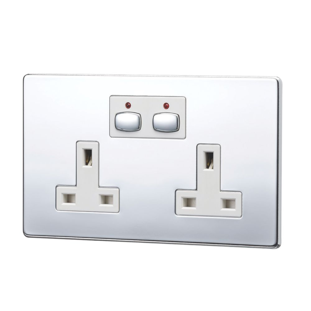Image of Energenie MiHome 13A 2-Gang SP Switched Socket Polished Chrome