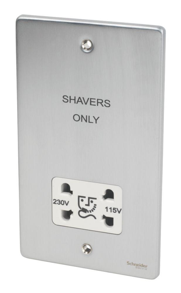 Image of Schneider Dual Voltage Shaver Socket 115 / 230V Brsh. Chrome w/ White Insert