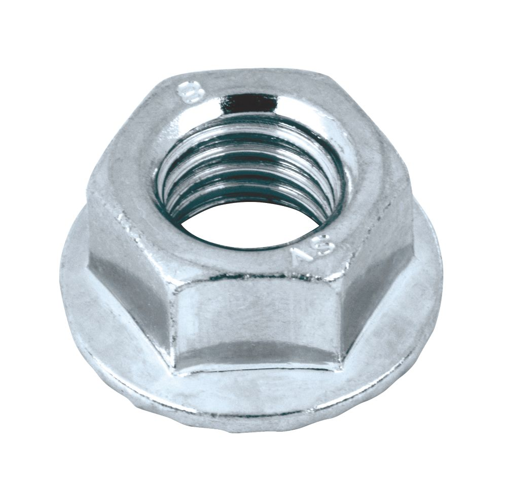 Image of Easyfix Flange Head Nuts Bright Zinc-Plated Carbon Steel M10 100 Pack